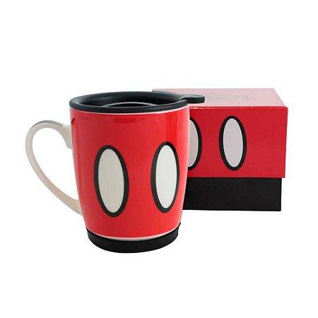 Caneca com tampa botões - Mickey Mouse