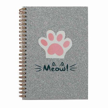 Caderno espiral prata Gato Meow