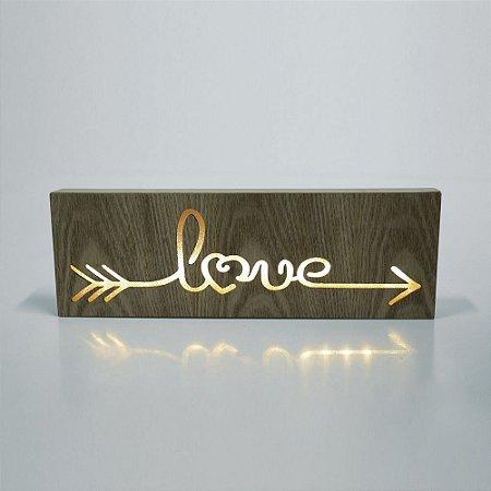Caixa luminosa madeira Love