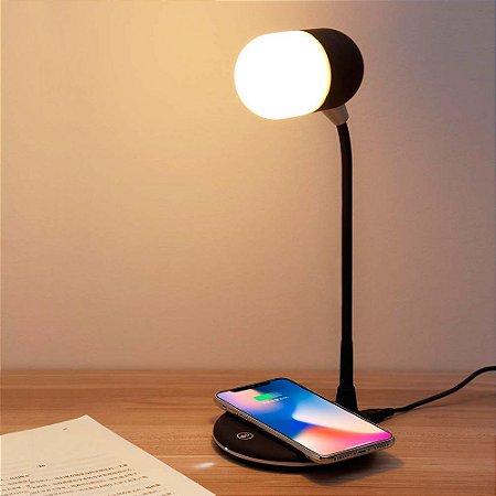 Luminária Smart Speaker Bluetooth e Carregador wireless