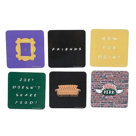 Conjunto de porta-copos cortiça 6 peças - Friends
