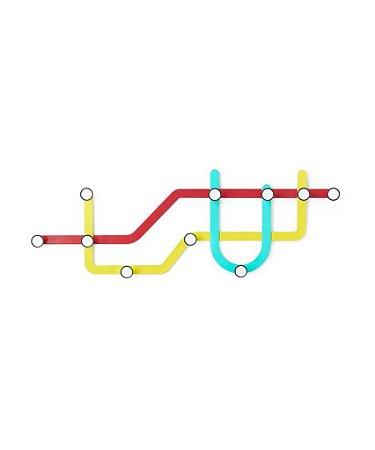 Cabideiro de parede colorido Metrô - Umbra Design