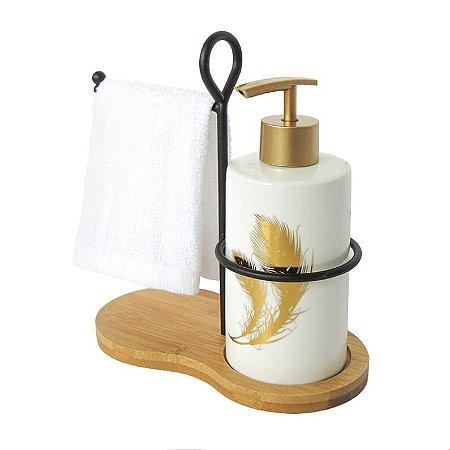 Porta sabonete liquido com toalha e suporte leave
