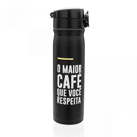 Garrafa Térmica com Botão Café - Frases