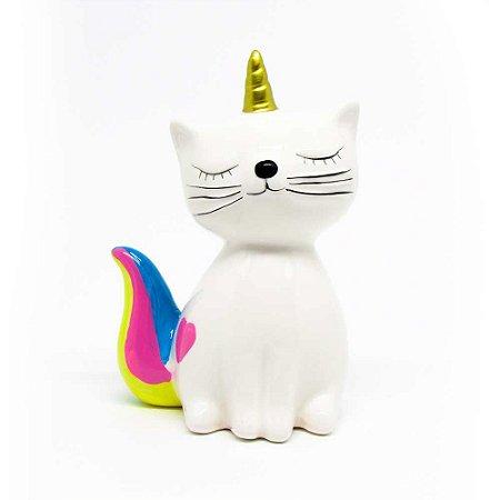 Cofre cerâmica - Gato Unicórnio