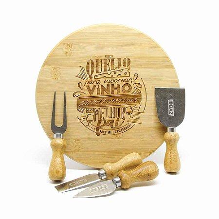 Kit Queijo Bambu 5 peças - Melhor Pai
