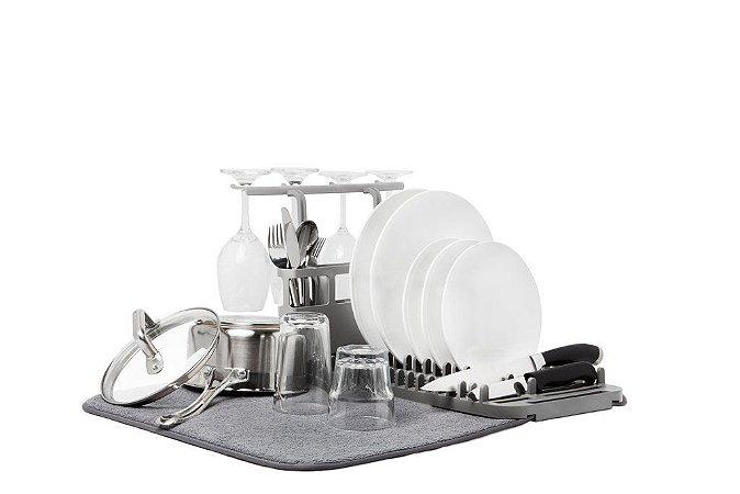 Escorredor de pratos com tapete e mini rack Udry