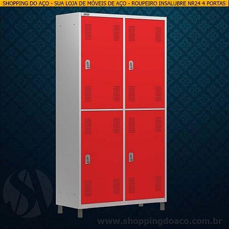 Roupeiro de Aço Insalubre NR24 para Vestiário 4 Portas Grandes W3