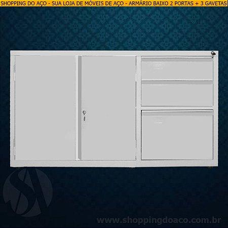 Armário de aço para escritório com 3 gavetas 71x124x50 - LN