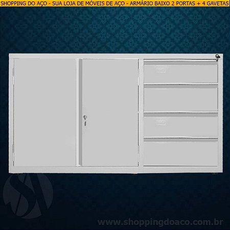Armário de aço para escritório com 4 gavetas 71x124x50 - LN
