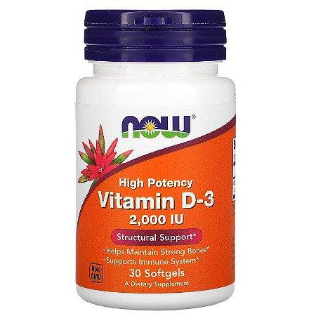 Vitamina D3, Now Foods, Alta Potência, 2000 IU, 30 Cápsulas