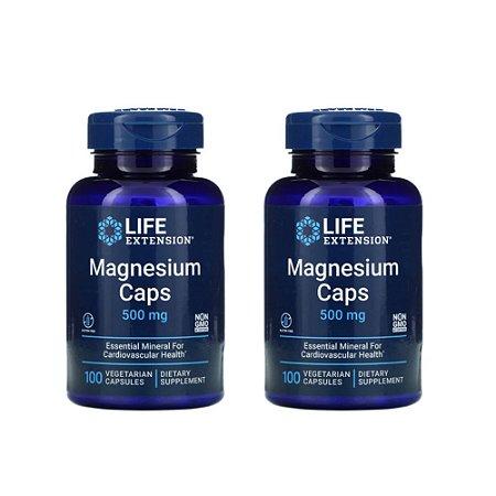 Kit 2x Magnésio 500 mg Life Extension, 100 Cáps, Importado