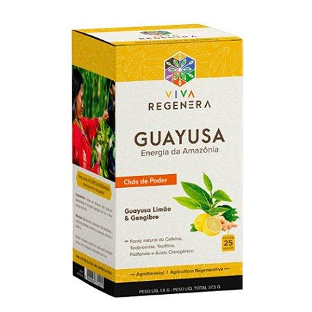 Chás Guayusa Limão e Gengibre Viva Regenera 25 Saches