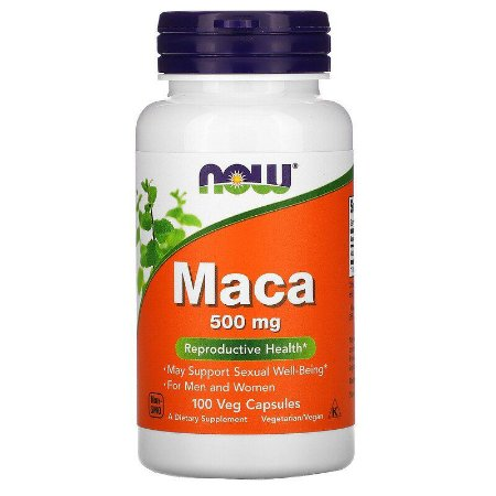 Maca Pura Premium Now Foods, 500 mg, 100 Cápsulas Vegetais