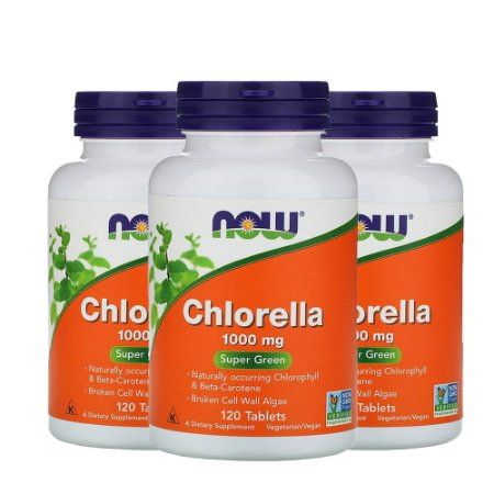 Kit 3x Chlorella, 1.000 mg, 120 Comp, Now Foods, Importado