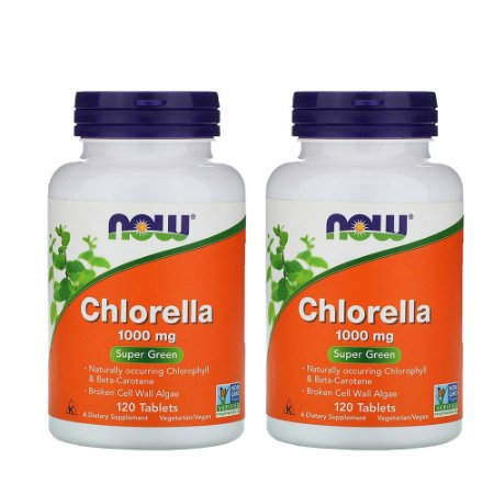 Kit 2x Chlorella, 1.000 mg, 120 Comp, Now Foods, Importado