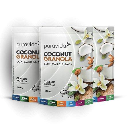 Kit 3x Coconut Granola Classic Vanilha, 180g, Puravida