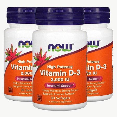 Kit 3x Vitamina D3, Now Foods, 2000 IU, 30 Cáps, Importado