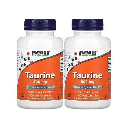 Kit 2x Taurina, Now Foods, 500 mg, 100 Cápsulas, Importado