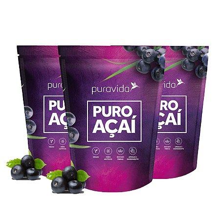 Kit 3x Puro Açaí em Pó Liofilizado, Vegano, 100% Puro