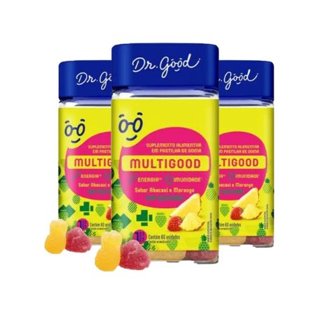 Kit 3x Multigood Diet Suplemento Gomas Morango C/60 Dr Good