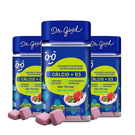 Kit 3x Suplemento Alimentar Cálcio + Vitamina D3 60 Morango