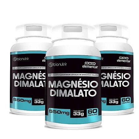 Kit 3x Magnésio Dimalato Bionutrir 60 Cap (fadiga Ansiedade)