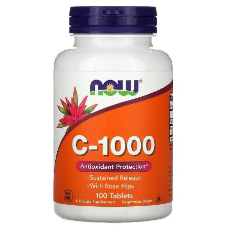 Vitamina C-1000mg , Now Foods, 100 Comprimidos, Importada