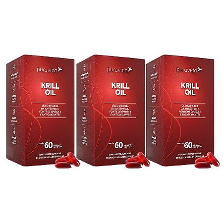 Kit 3x KRILL OIL FONTE SUSTENTÁVEL DE ÔMEGA 3 60CAP PURAVIDA