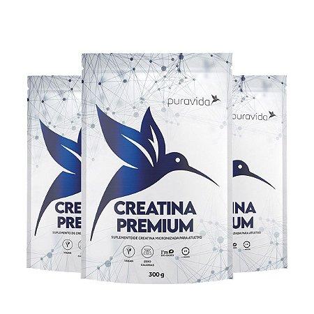 Kit 3x Creatina Premium Micronizada 300g, Puravida