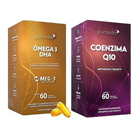 Combo Ômega 3 1000mg Dha - 400mg Epa + Coenzima Q10 Puravida
