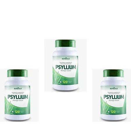 Kit 3x Psyllium 120 capsulas 500mg Nutrivale