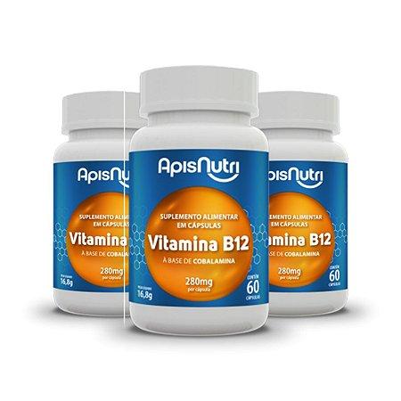 Kit 3x Suplemento Vitamina B12 280mg 60 Capsulas