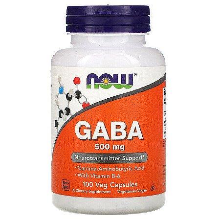 GABA, Now Foods, 500 mg, 100 Cápsulas Vegetais