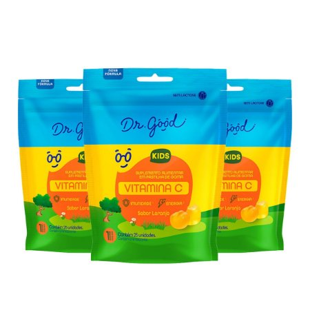 Kit 3x Gominhas Vitamina C Kids - Pacote 25 Unidades