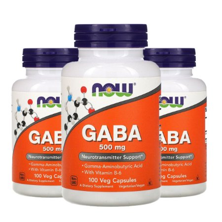 Kit 3x Gaba, Now Foods, 500 mg, 100 Cápsulas Vegetais