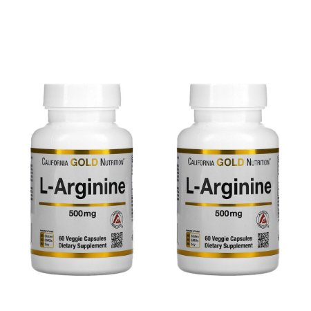Kit 2x L-Arginina, 500 mg, California Gold Nutrition, 60 cap