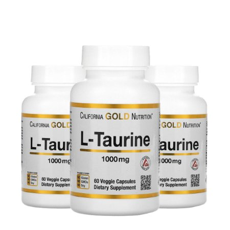 Kit 3x L-Taurina, California Gold Nutrition, 1.000 mg
