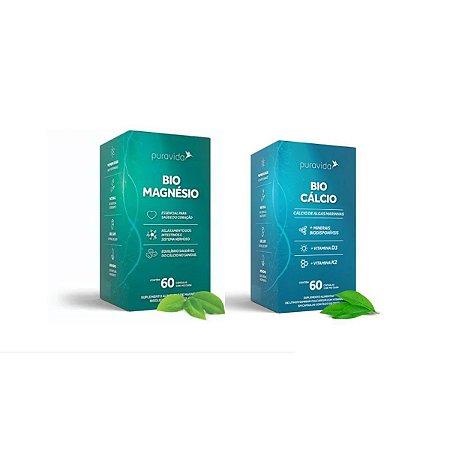 Kit Bio Magnésio 60 Cáps + Bio Cálcio 60 Cáps Pura Vida