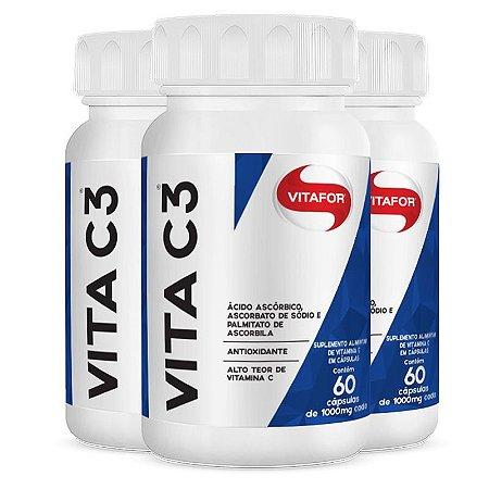 Kit 3x Vita C3 Vitamina C - 60 Cáps Vitafor