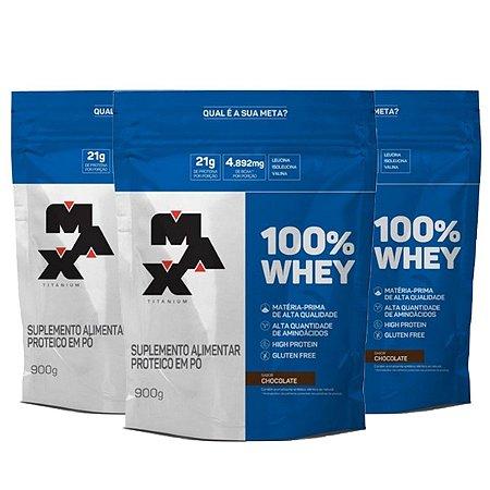 Combo 3x 100% WHEY REFIL SABOR CHOCOLATE 900G