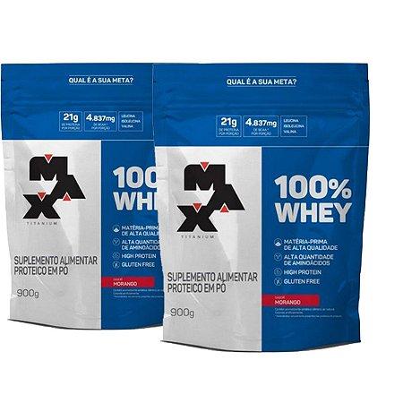 Combo 2x 100% WHEY REFIL SABOR MORANGO 900G