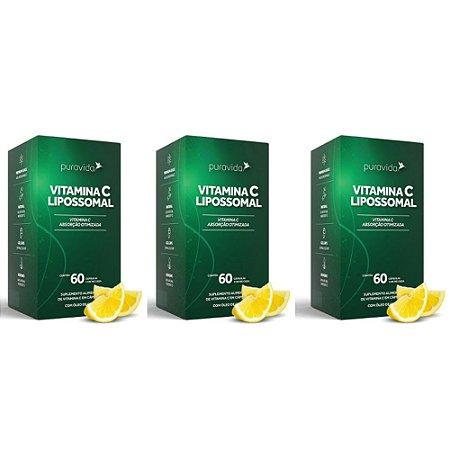 Combo 3x Vitamina C Lipossomal 1100mg 60 Cáp Pura Vida