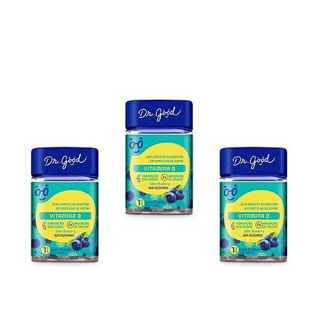 Kit 3x Vitamina D Dr Good Suplemento Gomas Blueberry C/30
