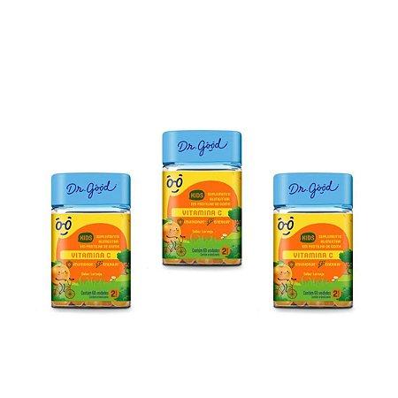 Kit 3x VitaminaC Kids Dr Good Suplemento gomas Laranja c/ 60