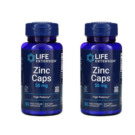 Kit 2x Zinco quelado 50 mg 90 Cáps Life Extension, Importado