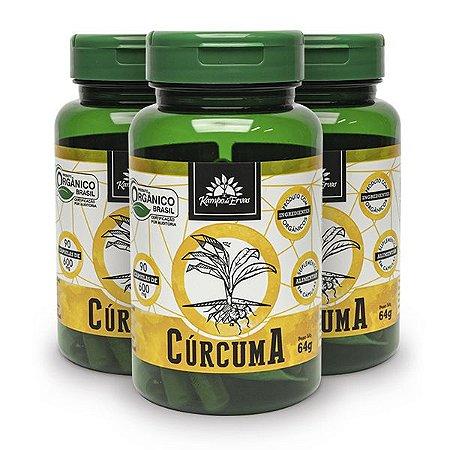 Kit 3x Cúrcuma orgânica 90cps de 600mg, Capsulas Veganas
