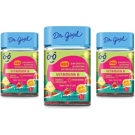 Kit 3x Vitamina D Kids Dr Good Gomas Tutti Frutti C/30