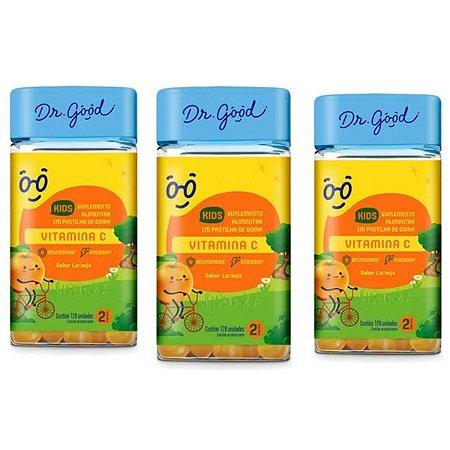 Kit 3x Vitamina C Kids Dr Good gomas sabor Laranja c/ 120