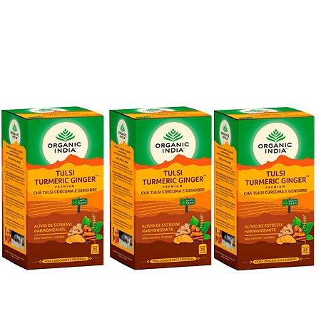 Kit 3x Chá Tulsi Cúrcuma e Gengibre Organic India 25 Saches